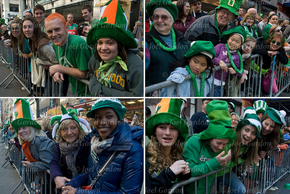 "Crowds of adult and children watching the New York City's 249th St.Partick's Parade going up 5th Avenue. Irish for a day when both Irish American and Non Irish ( AsianAmericans ) celerbrate Irish culture and heritage. People in the crowd wearing green and white hats and wearing buttons "" Kiss Me I'm Irish"" ""Irish For Tonight"" and ""Irish"" have fun as the marchers pass by."