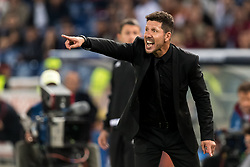 coach Diego Simeone of Club Atletico de Madrid during the UEFA Champions League group C match match between AS Roma and Atletico Madrid on September 12, 2017 at the Stadio Olimpico in Rome, Italy.