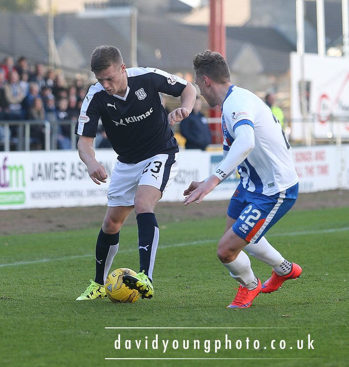 Dundee&rsquo;s Rhys Healey and Kilmarnock&rsquo;s Kevin McHattie  - Dundee v Kilmarnock, Ladbrokes Premiership at Dens Park <br />