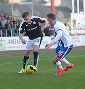 Dundee&rsquo;s Rhys Healey and Kilmarnock&rsquo;s Kevin McHattie  - Dundee v Kilmarnock, Ladbrokes Premiership at Dens Park <br /> <br />  - &copy; David Young - www.davidyoungphoto.co.uk - email: davidyoungphoto@gmail.com