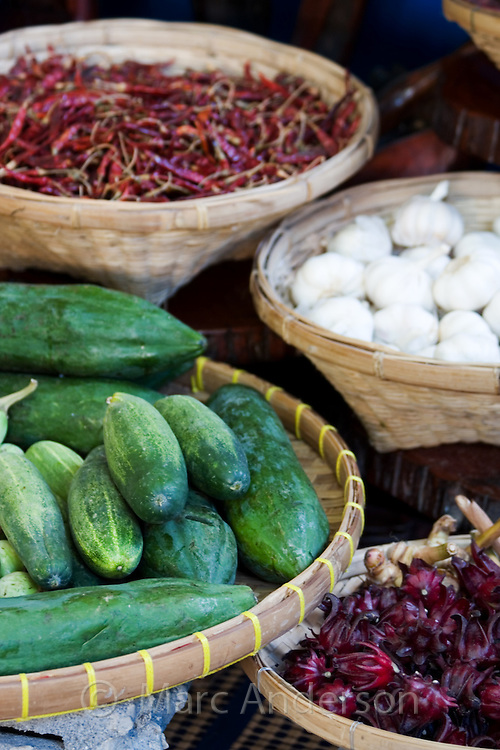 Fresh ingredients commonly used in Thai cooking including fruit, vegetables & spices.