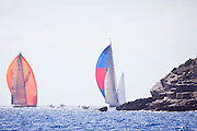 The new Firefly and Rebecca sailing in the St. Barth's Bucket Regatta, day three.