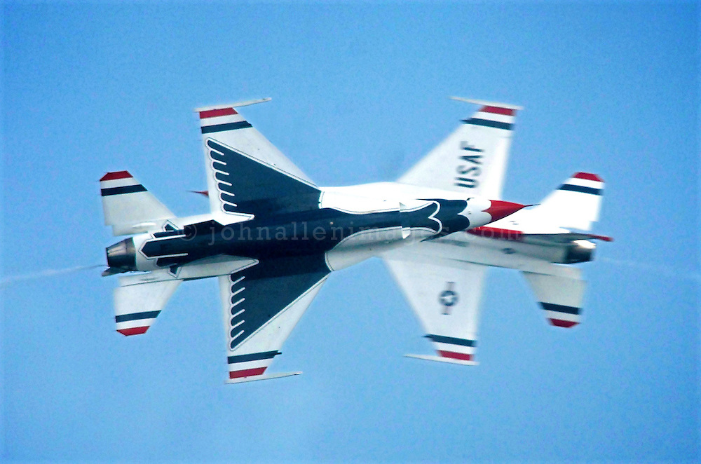 US Air Force Thunderbirds performing at the Salthill Airshow in 2007.<br /> Aviation and Aerial Photography by John Allen