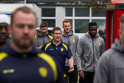 Burton Albion manager Nigel Clough walks amongst his Burton Albion squad into Loftus Road Stadium before the EFL Sky Bet Championship match between Queens Park Rangers and Burton Albion at the Loftus Road Stadium, London, England on 23 September 2017. Photo by Richard Holmes.