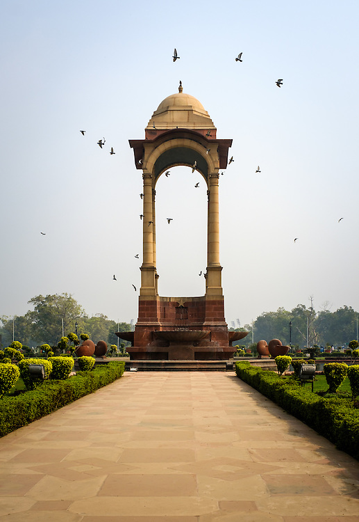 NEW DELHI, INDIA - CIRCA OCTOBER 2016: The Canopy behind the India Gate, a popular tourist attraction in New Delhi.