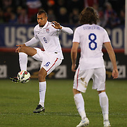 John Brooks, (left), USA, in action during the USA Vs Ecuador International match at Rentschler Field, Hartford, Connecticut. USA. 10th October 2014. Photo Tim Clayton