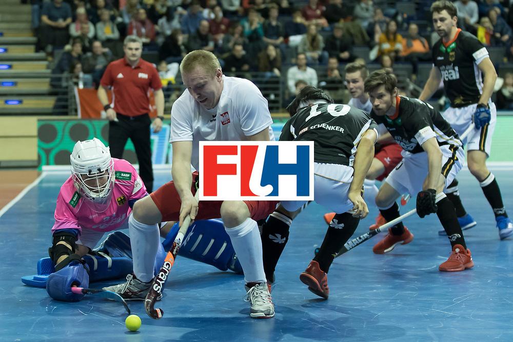 Hockey, Seizoen 2017-2018, 08-02-2018, Berlijn,  Max-Schmelling Halle, WK Zaalhockey 2018 MEN, Poland - Germany 3-6, MAKOWSKI Krystian (POL).