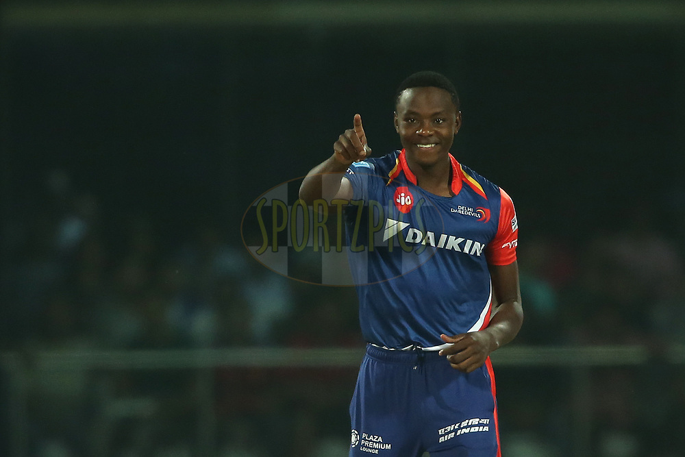 Kagiso Rabada of the Delhi Daredevils celebrates getting Brendon McCullum of the Gujarat Lions wicket during match 42 of the Vivo 2017 Indian Premier League between the Delhi Daredevils and the Gujarat Lions held at the Feroz Shah Kotla Stadium in Delhi, India on the 4th May 2017<br /> <br /> Photo by Shaun Roy - Sportzpics - IPL