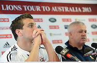 13 June 2013; British & Irish Lions captain Sam Warburton and head coach Warren Gatland during the team announcement for their game against NSW Waratahs on Saturday. British & Irish Lions Tour 2013, Team Announcement, North Sydney Oval, Sydney, New South Wales, Australia. Picture credit: Stephen McCarthy / SPORTSFILE