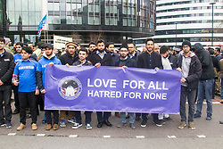 Westminster, London, March 29th 2017. Police officers, members of the emergency services and a large contingent of Muslims from across the UK as well as members of the public march across Westminster Bridge, exactly a week after the terror attack.