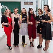 13.05.2016.           <br /> Katie Byrne, Clonal, Angela Cerriku, Limerick, Isabel Gray, Athlone, Saffron King, Wexford, Anna O'Doherty, Newcastle Westr Limerick and Michelle Crean, Wexford pictured at the much anticipated Limerick School of Art & Design, LIT, (LSAD) Graduate Fashion Show on Thursday 12th May 2016. The show took place at the LSAD Gallery where 27 graduates from the largest fashion degree programme in Ireland showcased their creations. Ranked among the world's top 50 fashion colleges, Limerick School of Art and Design is continuing to mould future Irish designers.. Picture: Alan Place/Fusionshooters