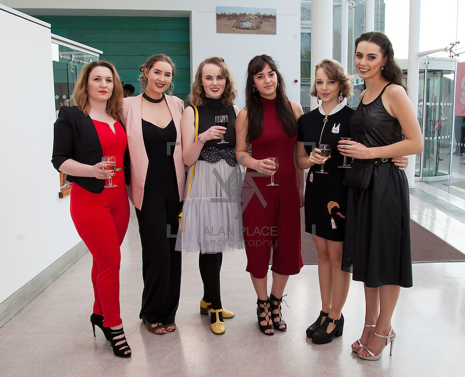 13.05.2016.           <br /> Katie Byrne, Clonal, Angela Cerriku, Limerick, Isabel Gray, Athlone, Saffron King, Wexford, Anna O'Doherty, Newcastle Westr Limerick and Michelle Crean, Wexford pictured at the much anticipated Limerick School of Art &amp; Design, LIT, (LSAD) Graduate Fashion Show on Thursday 12th May 2016. The show took place at the LSAD Gallery where 27 graduates from the largest fashion degree programme in Ireland showcased their creations. Ranked among the world&rsquo;s top 50 fashion colleges, Limerick School of Art and Design is continuing to mould future Irish designers.. Picture: Alan Place/Fusionshooters