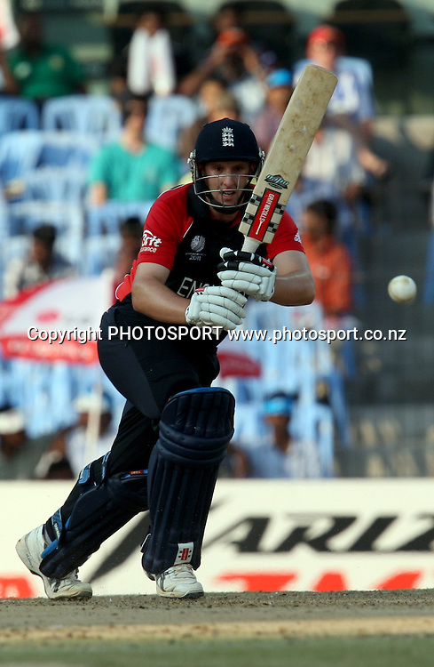 England batsman James Tredwell plays a shot against West Indies during the ICC Cricket World Cup - 36th Match, Group B England vs West Indies Played at MA Chidambaram Stadium, Chepauk, Chennai (neutral venue) 17 March 2011 - day/night (50-over match)