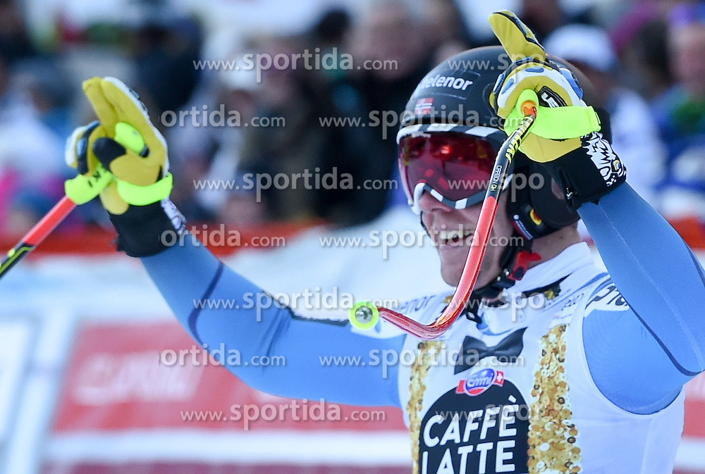 16.12.2016, Saslong, St. Christina, ITA, FIS Weltcup Ski Alpin, Groeden, Abfahrt, Herren, im Bild Aleksander Aamodt Kilde (NOR) // Aleksander Aamodt Kilde of Norway reacts after his run of men's downhill of FIS Ski Alpine World Cup at the Saslong in St. Christina, Italy on 2016/12/16. EXPA Pictures © 2016, PhotoCredit: EXPA/ Erich Spiess
