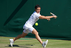LONDON, ENGLAND - Saturday, June 25, 2011: Francesca Schiavone (ITA) in action during the Ladies' Singles 3rd Round match on day six of the Wimbledon Lawn Tennis Championships at the All England Lawn Tennis and Croquet Club. (Pic by David Rawcliffe/Propaganda)