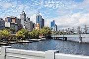 Sandridge Bridge over the Yarra River and Melbourne Cityscape