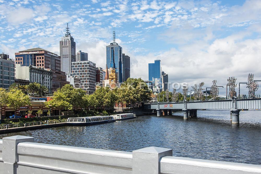 Sandridge Bridge over the Yarra River and Melbourne Cityscape