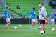 Melbourne City head coach Warren Joyce  looks on at the Hyundai A-League Round 6 soccer match between Melbourne City FC and Newcastle Jets at AAMI Park in Melbourne.