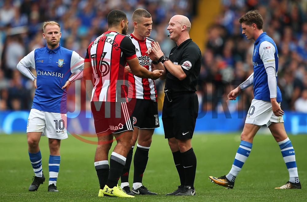 Cameron Carter-Vickers of Sheffield United complains to the referee - Mandatory by-line:  Matt McNulty/JMP - 24/09/2017 - FOOTBALL - Hillsborough - Sheffield, England - Sheffield Wednesday v Sheffield United - Sky Bet Championship