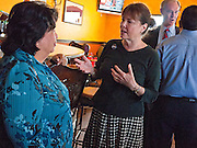 28 OCTOBER 2010 - TOLLESON, AZ: Monica Goddard (CQ) RIGHT talks with Rep Martha Garcia (CQ) during a stop at Fuego's in Tolleson. Terry Goddard brought his gubernatorial campaign to Fuego's in Tolleson for a lunch time meeting with local voters. Goddard lost the election to sitting Governor Jan Brewer, a conservative Republican.     PHOTO BY JACK KURTZ
