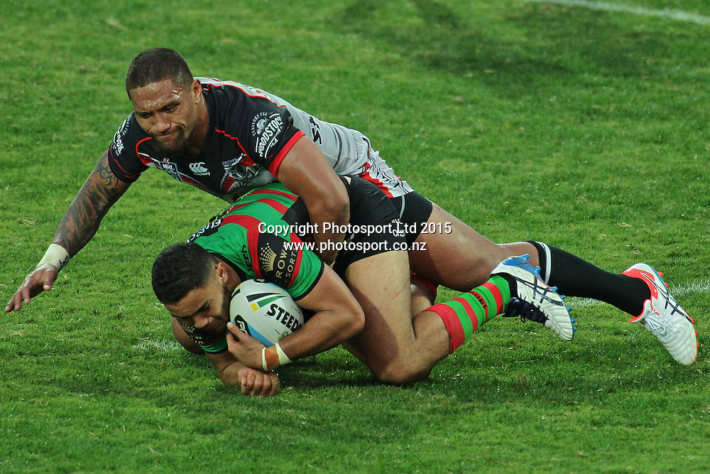 PERTH, AUSTRALIA - JUNE 06:  Dylan Walker of the Rabbitohs is tackled by Manu Vatuvei of the Warriors during the 2015 NRL Round 13 Rugby League match between the Vodafone Warriors and The Rabbitohs at NIB Stadium, Perth, Australia on June 6, 2015. (Copyright photo Will Russell/www.Photosport.co.nz)
