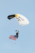 New Windsor, New York - A member of the Black Knights West Point Parachute Team at the New York Air Show at Stewart International Airport on Aug. 29, 2015. The all-cadet team provides freefall demonstrations in support of Army athletics and also performs in competitions.