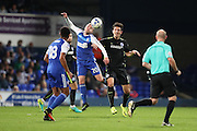 Ipswich Town striker Freddie Sears (20) and Brighton & Hove Albion central defender Lewis Dunk (5) during the EFL Sky Bet Championship match between Ipswich Town and Brighton and Hove Albion at Portman Road, Ipswich, England on 27 September 2016.
