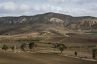 MAZZARINO, ITALY - 28 NOVEMBER 2014:  Hills in Mazzarino, Italy, on November 28th 2014.