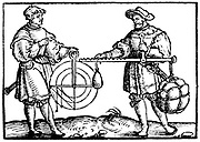 Weighing with a steelyard (right). From Gaultherus Rivius 'Architecture … Mathematischen … Kunst ', Nuremberg, 1547.  Woodcut