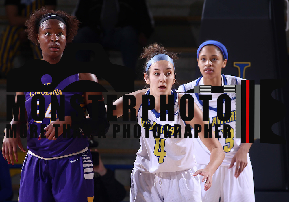 Delaware Guard Jodi Salyer (4) defends ECU Forward I'Tiana Taylor (24) in the first half of a regular season basketball game between the Delaware and the ECU Pirates Sunday, Nov. 22, 2015, at The Bob Carpenter Sports Convocation Center in Newark.