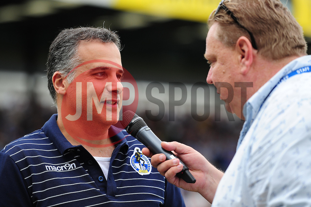 Bristol Rovers' presidentent Wael Al-Qadi is interviewed pitch side - Mandatory by-line: Dougie Allward/JMP - 14/08/2016 - FOOTBALL - Memorial Stadium - Bristol, England - Bristol Rovers v Oxford United - Sky Bet League One