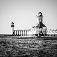 St. Joseph Lighthouses Black and White Picture. Photo includes both the inner and outer Saint Joseph lighthouses and Lake Michigan. The photo is high resolution and was taken in 2013. Image Copyright © Paul Velgos All Rights Reserved.