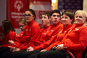 Warsaw, Poland - 2017 March 12: Special Olympics Athletes while Nomination Ceremony of Special Olympics Polish National Team before the Special Olympics World Winter Games Austria  2017 at Marriott Hotel on March 12, 2017 in Warsaw, Poland.<br /> <br /> Mandatory credit:<br /> Photo by &copy; Adam Nurkiewicz / Mediasport<br /> <br /> Adam Nurkiewicz declares that he has no rights to the image of people at the photographs of his authorship.<br /> <br /> Picture also available in RAW (NEF) or TIFF format on special request.<br /> <br /> Any editorial, commercial or promotional use requires written permission from the author of image.<br /> <br /> Image can be used in the press when the method of use and the signature does not hurt people on the picture.