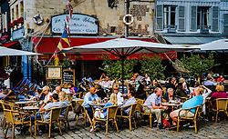 Restaurant near the harbour in Honfleur, Normandy, France