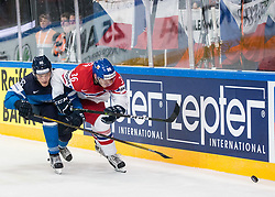 Mikko Rantanen of Finland vs Jakub Krejcik of Czech Republic during the 2017 IIHF Men's World Championship group B Ice hockey match between National Teams of Finland and Czech Republic, on May 8, 2017 in Accorhotels Arena in Paris, France. Photo by Vid Ponikvar / Sportida