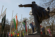 With the statue of Liberal statesman David Lloyd-George in the foreground, the flags of all Commonwealth Nations hang in Parliament Square on the occasion of the bi-annual Commonwealth Heads of Government Meeting (CHOGM),  on 19th April 2018, in London, England.