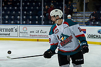 KELOWNA, CANADA - MARCH 13:  Steel Quiring #18 of the Kelowna Rockets warms up with the puck against the Spokane Chiefs on March 13, 2019 at Prospera Place in Kelowna, British Columbia, Canada.  (Photo by Marissa Baecker/Shoot the Breeze)