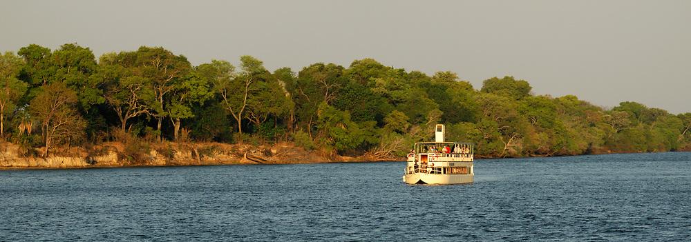 Panorama, River Boat on Zambesi River, Livingstone, Southern Province, Zambia