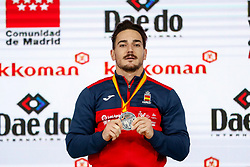 November 10, 2018 - Madrid, Madrid, Spain - Damian Quintero (ESP) win the silver medal and the second place of the tournament of male Kata tournament during the Finals of Karate World Championship celebrates in Wizink Center, Madrid, Spain, on November 10th, 2018. (Credit Image: © AFP7 via ZUMA Wire)