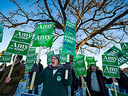 14 JANUARY 2020 - DES MOINES, IOWA: PAUL FRANCESCHI, from Texas, rallies with Amy Klobuchar supporters before the CNN Democratic Presidential Debate on the campus of Drake University in Des Moines. This is the last debate before the Iowa Caucuses on Feb. 3.    PHOTO BY JACK KURTZ