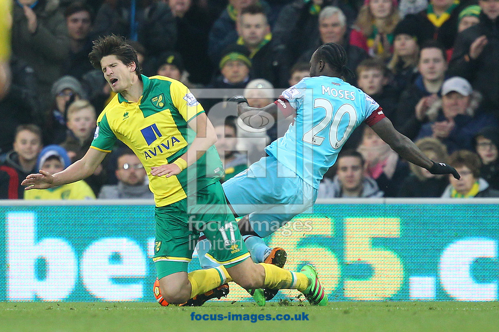 Timm Klose of Norwich is beaten by Victor Moses of West Ham in the build up to West Hma's 1st goal during the Barclays Premier League match at Carrow Road, Norwich<br /> Picture by Paul Chesterton/Focus Images Ltd +44 7904 640267<br /> 13/02/2016
