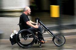 UNITED KINGDOM ENGLAND LONDON 25UN07 - Disabled man using tricycle on a street in Bayswater, west London...jre/Photo by Jiri Rezac..© Jiri Rezac 2007..Contact: +44 (0) 7050 110 417.Mobile:  +44 (0) 7801 337 683.Office:  +44 (0) 20 8968 9635..Email:   jiri@jirirezac.com.Web:    www.jirirezac.com..© All images Jiri Rezac 2007 - All rights reserved.
