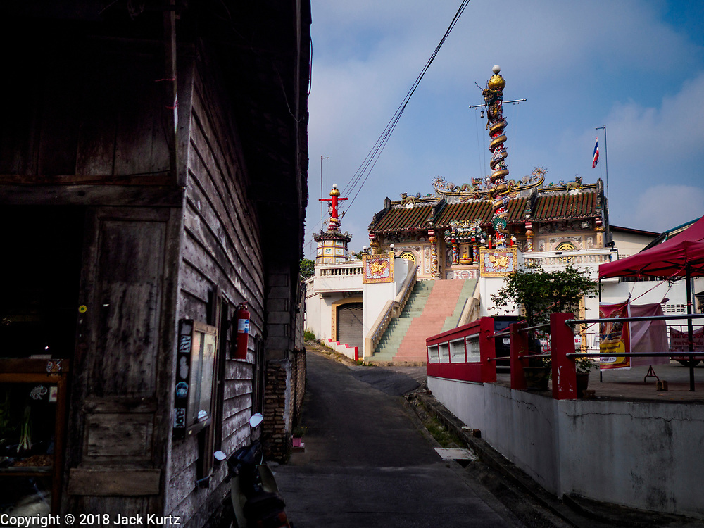 22 DECEMBER 2018 - CHANTABURI, THAILAND:  A Chinese temple in Chantaburi. Chantaburi is the capital city of Chantaburi province on the Chantaburi River. Because of its relatively well preserved tradition architecture and internationally famous gem market, Chantaburi is a popular weekend destination for Thai tourists.         PHOTO BY JACK KURTZ