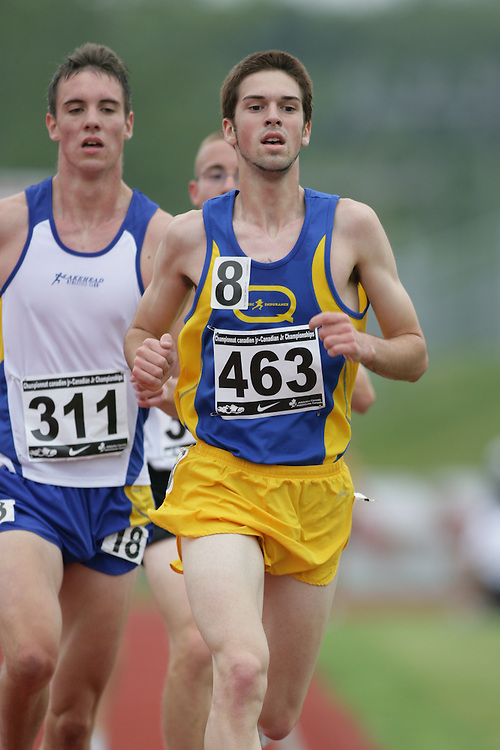 (Charlottetown, Prince Edward Island -- 20090714) Emmanuel Boisvert of Qu?bec Endurance competes in the 5000m finals at the 2009 Canadian Junior Track & Field Championships at UPEI Alumni Canada Games Place on the campus of the University of Prince Edward Island, July 17-19, 2009.  Sean Burges / Mundo Sport Images ..Mundo Sport Images has been contracted by Athletics Canada to provide images to the media.