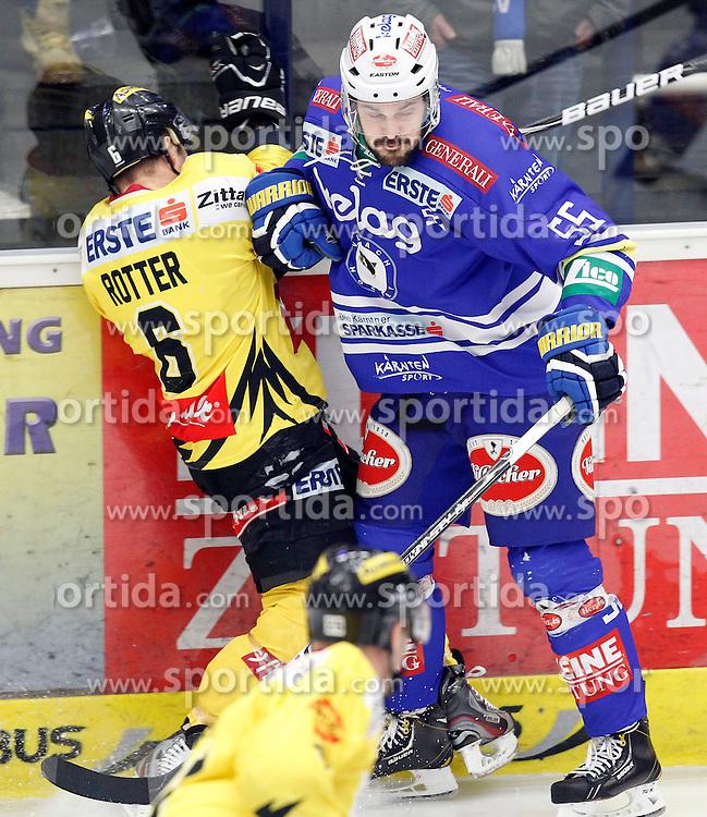 28.02. 2014, Stadthalle, Villach, AUT, EBEL, EC VSV vs UPC Vienna Capitals, 9. Plazierungsrunde, im Bild Rafael Rotter (Capitals,#6) und Scott Hotham (VSV,#55) // during the Erste Bank Icehockey League 9. Placing round between EC VSV vs UPC Vienna Capitals at the City Hall, Villach, Austria, 2014/02/28, EXPA Pictures © 2014, PhotoCredit: EXPA/ Oskar Hoeher