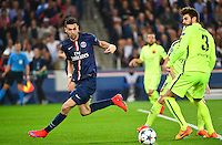Javier PASTORE / Gerard PIQUE - 15.04.2015 - Paris Saint Germain / Barcelone - 1/4Finale Aller Champions League<br />