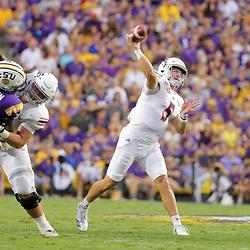 Sep 14, 2019; Baton Rouge, LA, USA; Northwestern State Demons quarterback Shelton Eppler (5) throws against the LSU Tigers during the first quarter at Tiger Stadium. Mandatory Credit: Derick E. Hingle-USA TODAY Sports