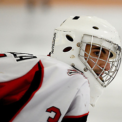 STOUFFVILLE, ON - Jan 16 : Ontario Junior Hockey League Game Action between the Stouffville Spirit Hockey Club and the Whitby Fury Hockey Club.  Daniel Mannella #31 of the Stouffville Spirit Hockey Club during the pre-game warm-up.<br /> (Photo by Michael DiCarlo / OJHL Images)