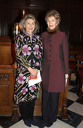 Left to right, MRS TIM RATHBONE and PRINCESS JUNE LOBANOV-ROSTOVSKY at a carol concert in aid of the Institute of Cancer Research at the Royal Hospital Chapel, Chelsea on 2nd December 2004.<br />