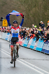 Mathieu van der Poel (NED) wins, Men Elite, Cyclo-cross World Cup Hoogerheide, The Netherlands, 25 January 2015, Photo by Thomas van Bracht / PelotonPhotos.com